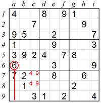 Eliminating squares using Naked Pairs in a box A