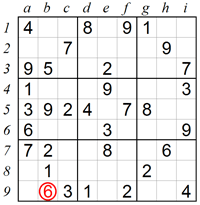Eliminating squares using Naked Pairs in a box B